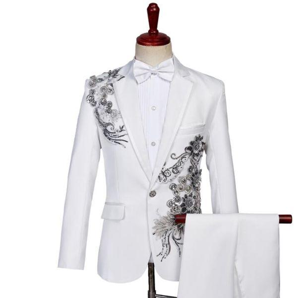 Blazer men formal dress latest coat pant marriage Sequin stage chorus suit men terno masculino trouser wedding suits mens