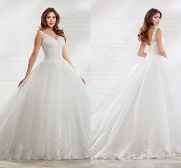 Unique Sequins Tulle Lace Ball Gown Wedding Dresses Plus Size 2020 V Neck  Corset Back Backless Bridal Dress Boho Bohemian Wedding Gowns Vintage Lace  ...