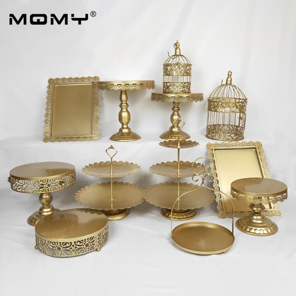 12Pcs Thin Disk Golden Silver Pink White Tray Metal 3 Tier Plate Cupcake Decoration Wedding Square Display Birdcage Cake Stand