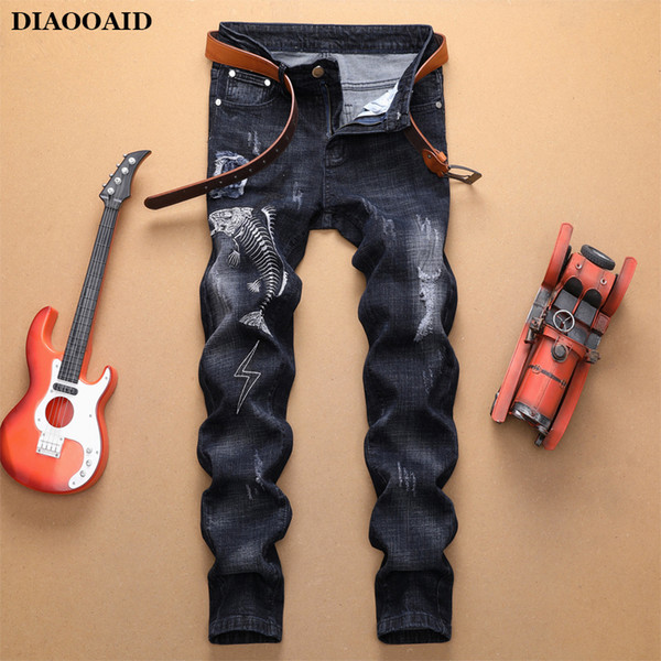 2020 men's embroidered painted ripped jeans streetwear holes patchwork stretch male quality personality comfortable denim pants