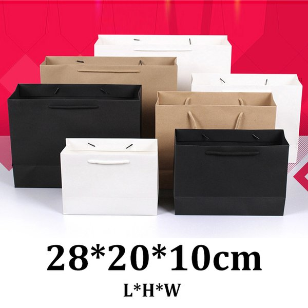 28x20x10cm horizontal white paper kraft shopping bag