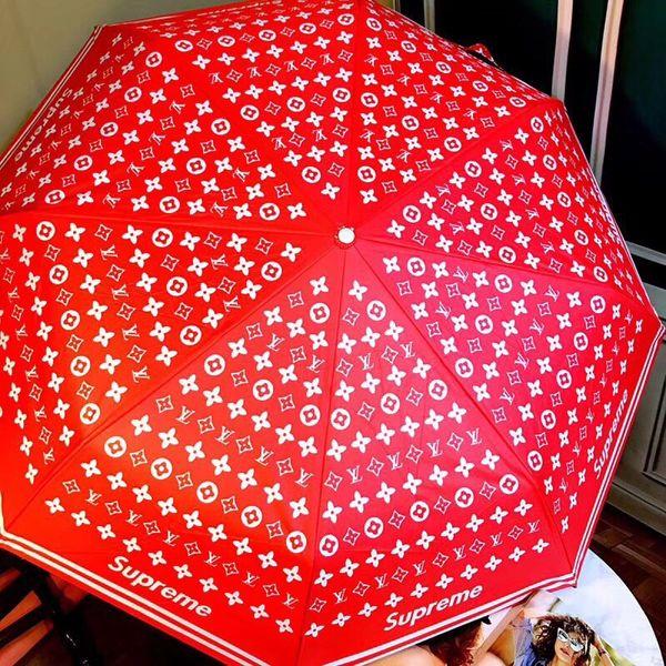 NewRed Wedding Umbrella S + L Letter Mix Brand Print Red Automatic Folding Parasol Jubilant Color New Ombrellas