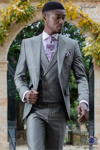 Nueva llegada Dos botones Groomsmen Pico Solapa Novio Tuxedos Trajes de hombre Boda / Prom Best Man Blazer (Jacket + Pants + Vest + Tie) 192