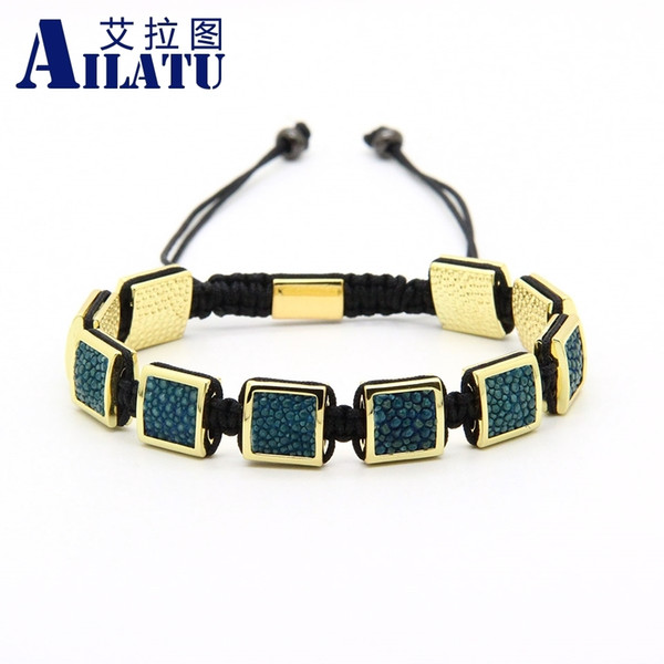 Ailatu Mens Bracelets Python Leather Stingray Macrame Bracelet 10pcs/lot Top Quality MX190727