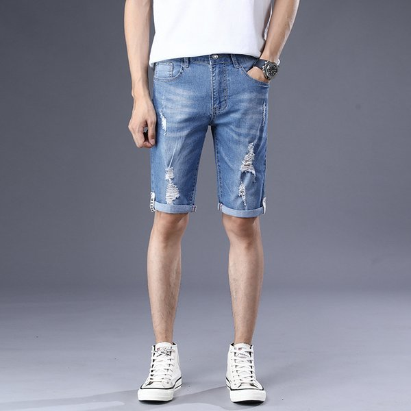 Summer Hole Jean Shorts Uomo Lunghezza ginocchio Pantaloncini Hip Hop Jeans Uomo Jeans aderenti Pantaloni Denim