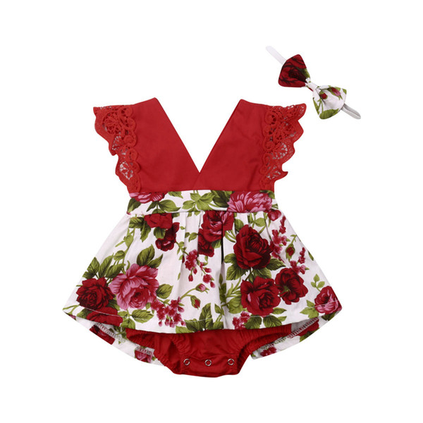 Newborn Baby Girl Princess Lace Romper Playsuit Jumpsuit Headband 2Pcs Kids Summer Clothes Outfits Toddler Floral Tutu Rompers