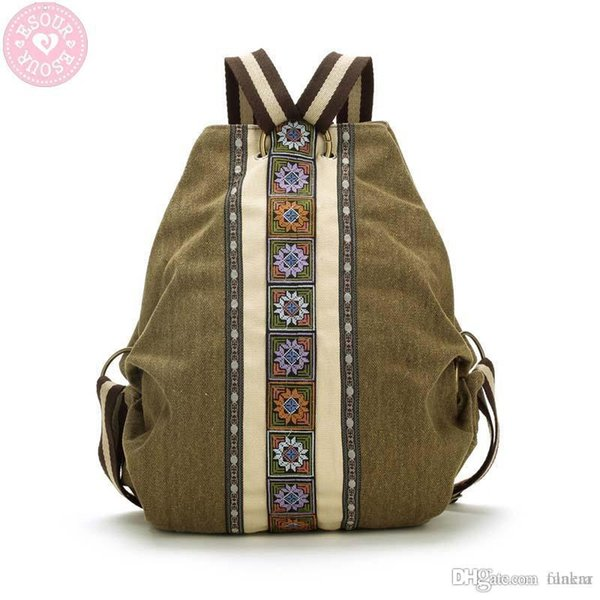 Wholesale- Chinese retro style women printing canvas backpack Ethnic characteristics of leisure canvas backpack shoulder satchel bag