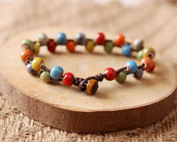 Originally Braided Bracelet featuring Hand-kneaded ceramic color ceramics, pearl-forest small fresh Bracelet W770