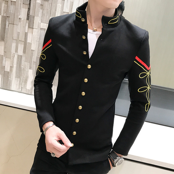4 Colors Gold Chinese Button Collar Suit Jacket Slim Men Blazer Pattern Army Pilot Jacket Blue Red White Blazer M-2XL