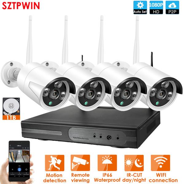 4CH sistema TVCC senza fili 1080P NVR 4PCS 2.0MP IR esterna P2P IP di Wifi di sicurezza del CCTV sistema di telecamera di sorveglianza