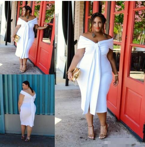 2019 Sexy White Big Girl Plus Size Prom Dresses Off the Shoulder Tea Length Backless Sleeves Short Evening Gowns Cheap Formal Dress