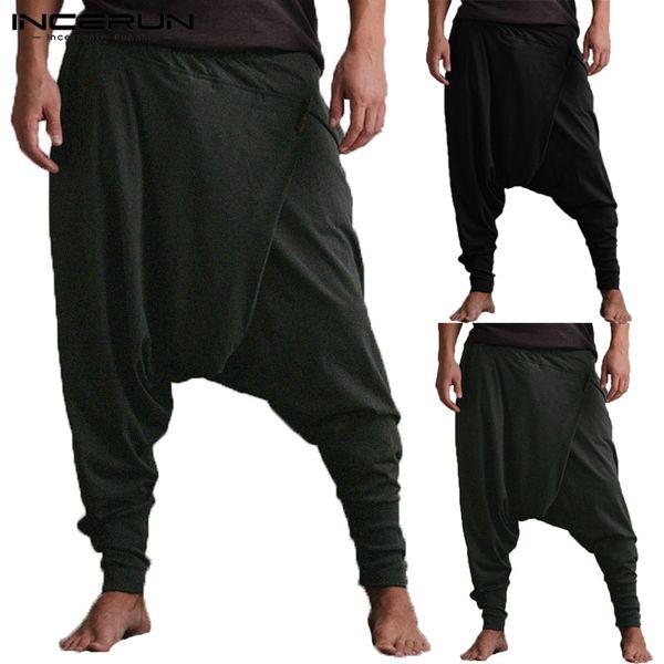 INCERUN Hommes Harem Pants Drop Crotch Poches Joggeurs Pantalons solides Hommes Lâche Hip-Hop Baggy Pants Femmes Casual Yoga-Pants 5XL