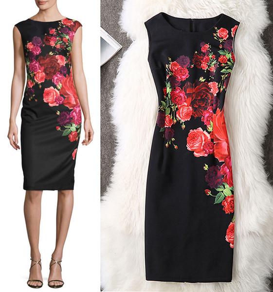 Summer Women Dress 2019 Plus Taglie 3xl 4xl Sexy Vintage Elegante Floral Evening Party Dress Office Bodycon Matita Abiti abiti firmati