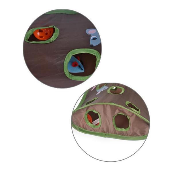 Engraçado Dobrável Pet Túnel Pet Cat Ratos Inteligência Brinquedos Tenda Sino Tenda Com 9 Buracos Gato Jogar Túnel Brinquedos Interativos Bola Sinos
