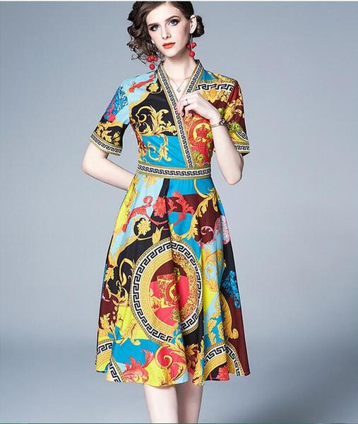Fresh fashion Flora printed V-neck women dress A-line street style dresses knee-length short sleeve