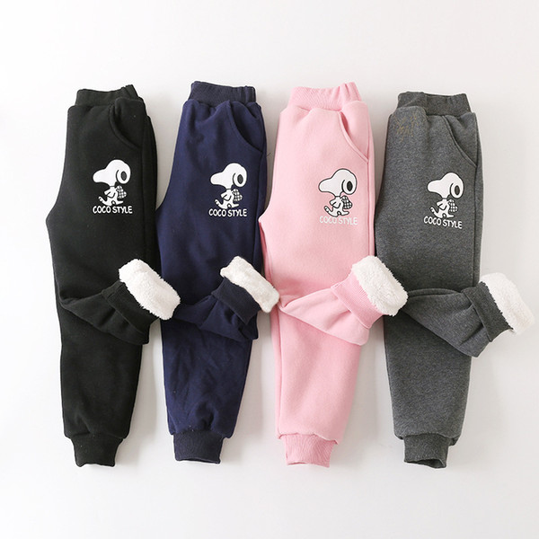 Free Shipping Winter Cotton Kids Pants Boy Girls Cartoon Dog Casual Sport Pants Thick Flannel Warm Long Trousers Children Clothes 110-160cm