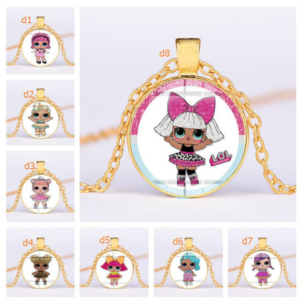 Cartoon Doll Glass Pendant Necklace 25mm Time Gem Jewelry Kids Necklaces Cute Cartoon Characters Sweater Chains Children's Gifts A41005