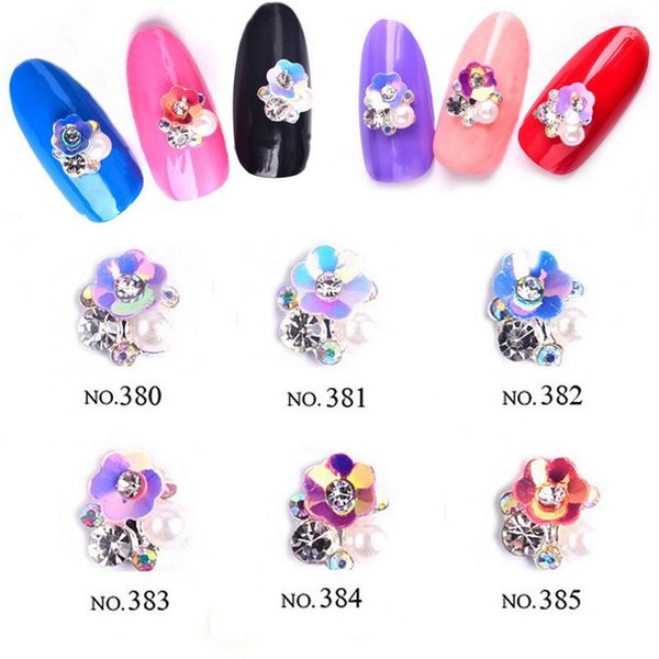 2018 New 10pcs Nail Art Jewelry Flower Style AB Alloy Jewelry Pearl Colorful Nail Charms Rhinestones For Art Decoration T38