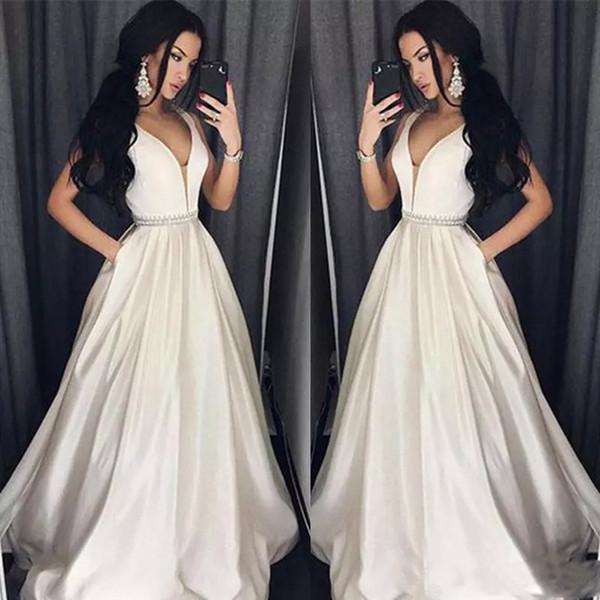 Elegant Plus Size Prom Dresses A Line Floor length Long Formal Dress V Neck  Evening Gown 51e0c9de417d