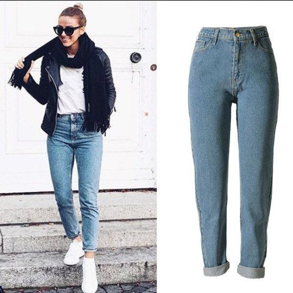 Women High Waist Jeans Slim Mom Style Pencil Jeans High Quality Denim Pants