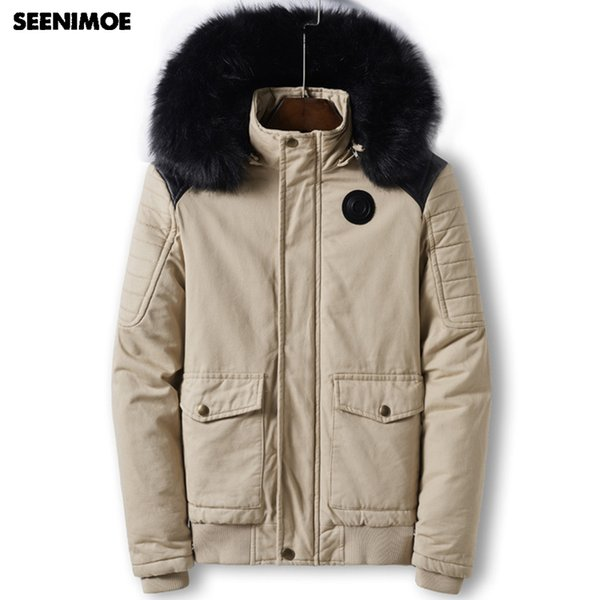 Seenimoe 2019 Thicken Winter Parkas Men Brand Winter Jacket With Fur EU Size M-3XL Windproof Mens Long Solid Color Warm Coats