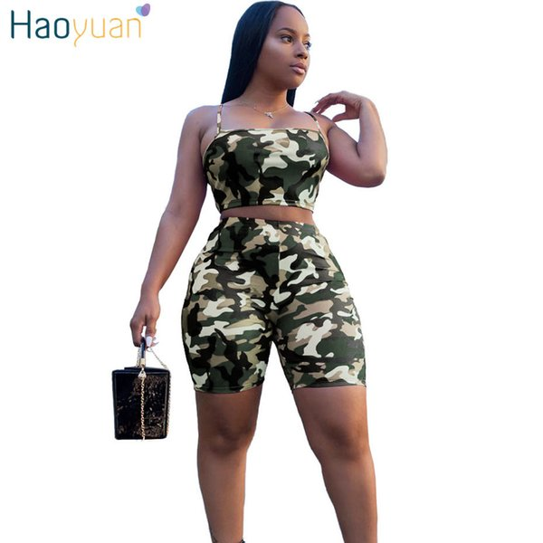 Haoyuan Camouflage Print Two Piece Set Crop Top And Biker Shorts Plus Size Casual Sweat Suit Tracksuit 2 Piece Outfits For Women Y19062601