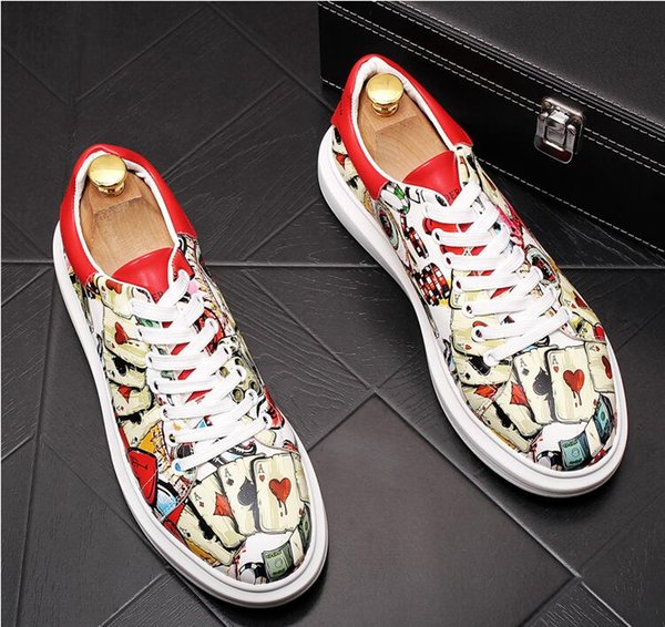 Casual shoes printing tide men's shoes stylist hair lover shoes personality low help ins tide 38-43