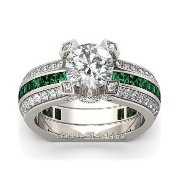 Moda 925 Ayar Gümüş Prenses kesim Yeşil Topaz Elmas CZ Taş Yüzükler Kadınlar için set Nişan Düğün Gelin Band Yüzükler Parmak