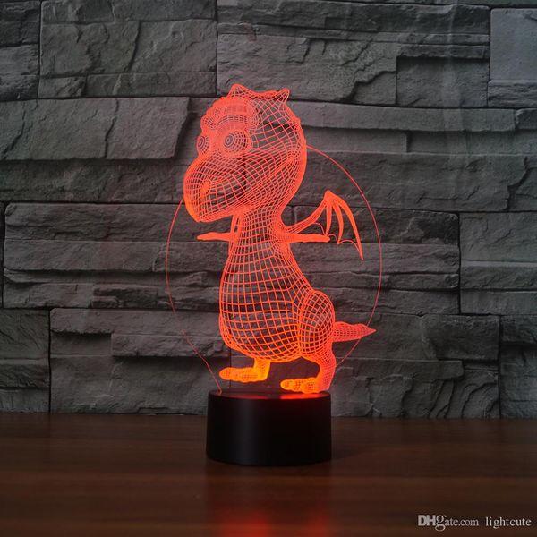 Kleine Dinosaurier 3D Illusion Nachtlicht-Touch 7 Farbwechsel Home Decor Baby-Jungen-LED-Lampe-Kind-Geschenk Weihnachtsweihnachtsgeschenke