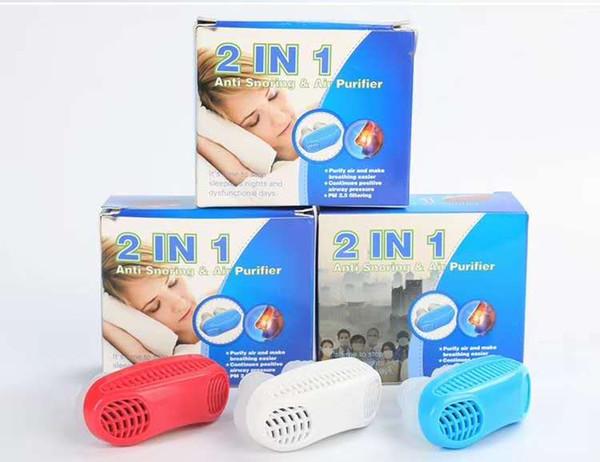1set 2-in-1 Ronquido Detención Purificador de aire Aparato de respiración nasal Dispositivo de protección contra la apnea Ayuda para dormir Dispositivo para dejar de roncar Anti ronquido