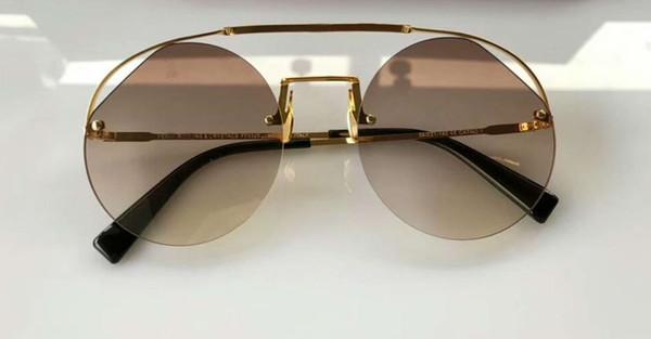 RIBBONS CRYSTALS 0325 / S Gafas de sol redondas en dorado / marrón redondas Gafas de sol Nuevo con estuche