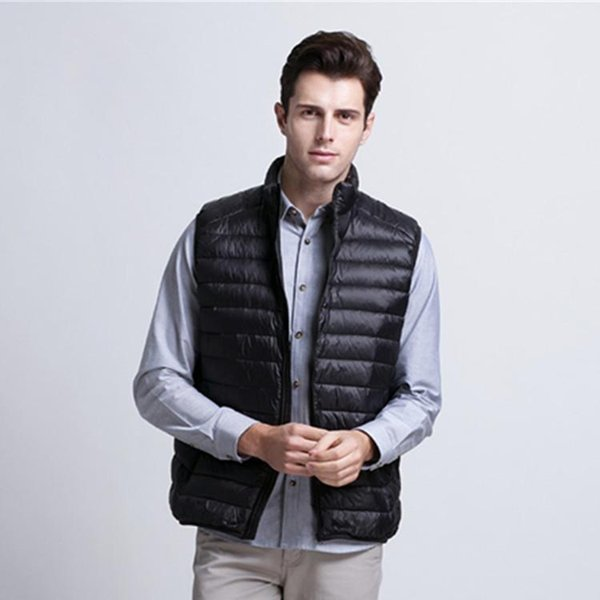 Wholesale- Nice Fashion Mens Vest Winter Men Lightweight Vests Male Filling 80% White Duck Down Jacket Sleeveless Men Warm Vest 2005