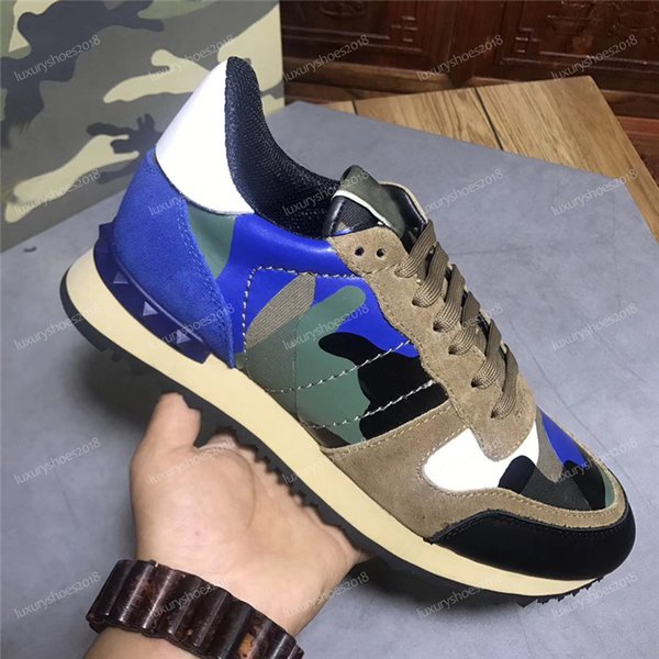 New Color Camo Suede Studded Camouflage Rock Runner Sneaker Shoes For Women Men Stud Casual Luxury Designer Shoes Sneakers chaussures ck001