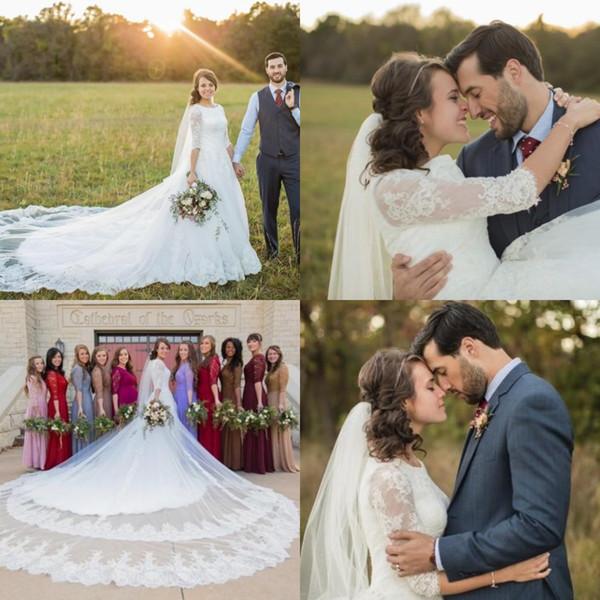 2020 Novo País A Linha de Vestidos de Casamento Com Mangas Meia Jóia Lace Top Catedral Train Lds Vestidos de Noiva Couture Custom Made