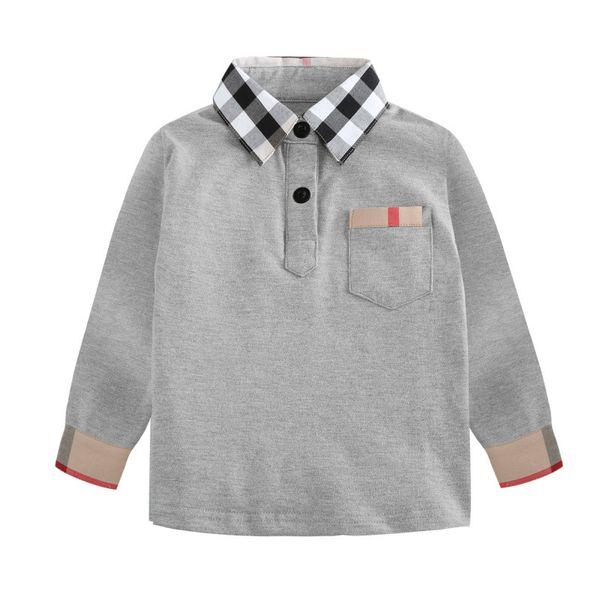 Venda quente primavera outono manga longa menino tshirt muito popular moda infantil polo tshirt menino top com bolso