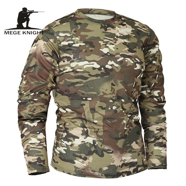 Mege Brand Clothing New Autumn Spring Men Long Sleeve Tactical Camouflage T-shirt Camisa Masculina Quick Dry Military Army Shirt J190529