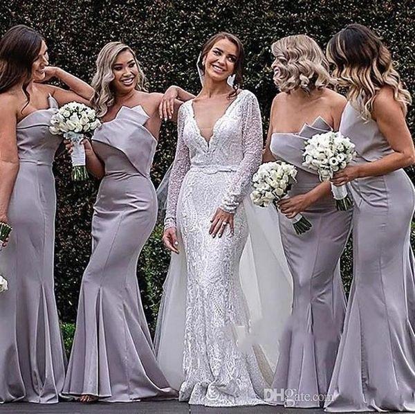 Zarif Mermaid Straplez Uzun Nedime Elbiseler Yeni Batı Ülke Bahçe Düğün Konuk Elbise Pleats Trompet Uzun Akşam elbise BC1748
