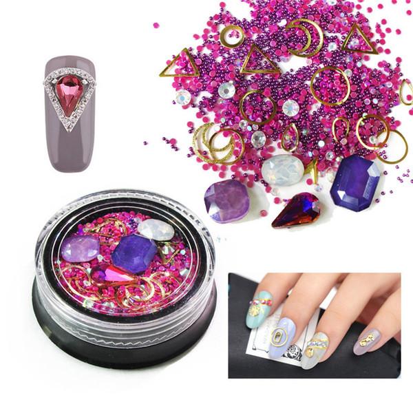 Compre Rhinestones De Uñas Kits De Decoraciones De Arte De Uñas 3d Cristal Acrílico Metal Cadena De Oro Piedras Diseño De Arte Polaco Gel Uv Diamantes
