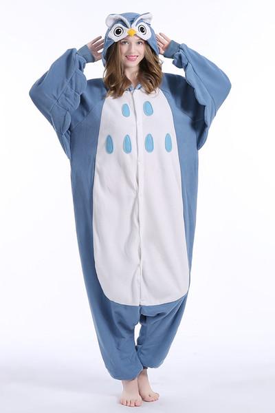 Novo Animal Adulto Coruja Pijamas de Alta Qualidade Flanela Footed Kigurumi Onesies Cosplay Trajes Para Mulheres Homens