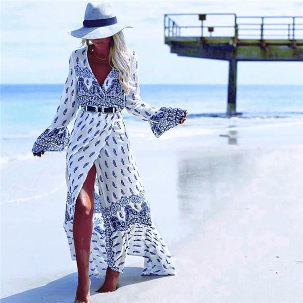 Vestido bohemio Vestido casual de viaje en la playa Ropa de mujer de gran tamaño con estampado de primavera y verano Atractivo delgado y sexy Moda Vestidos informales