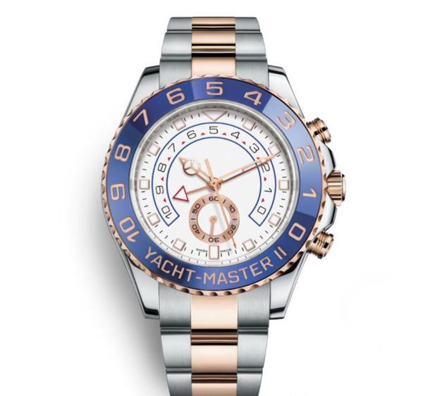 2019 роскошные мужские наручные часы 116681 44-миллиметровая яхта Two Tone из розового золота из нержавеющей стали мужские автоматические механические часы с большим циферблатом хронограф F