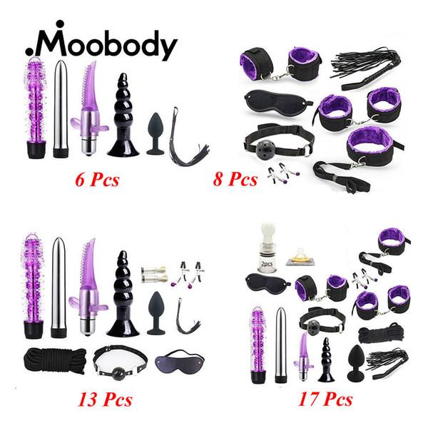 Multi-tipo de juguetes sexuales Plug anal / vibrador / manos / látigo / clip / vendas / bomba de mama / aceite lubricante Bdsm Juegos para adultos para parejas J190629