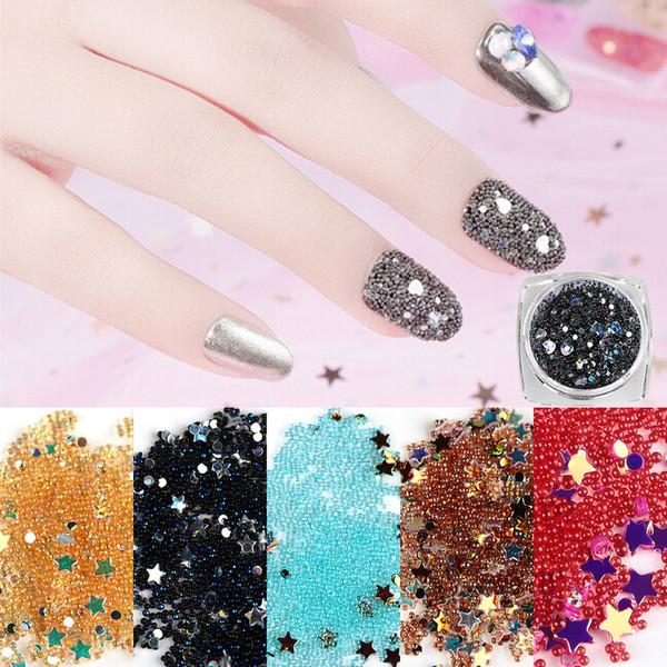 12 Unids / set 3D Mini Cuentas Estrella Nail Art Crystal Rhinestone Caviar Bola Pegatinas Brillos Encantos Decoración Manicura Accesorios