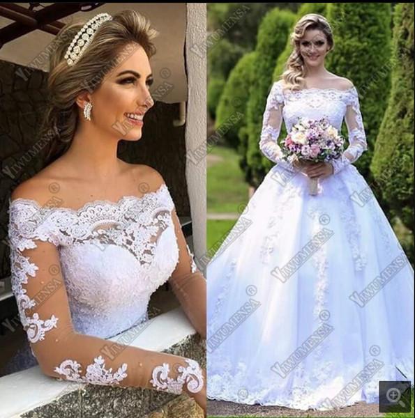 Vestido De Noiva 2019 Ball Gown Wedding Dress Sexy Boat Neck Robe De Mariage Wedding Gowns Nude Tulle Long Sleeves Bride Dresses
