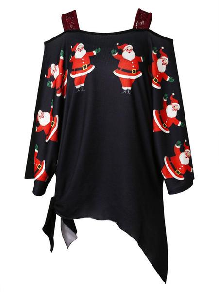 Wipalo Plus Size Natal Papai Noel Impressão Assimétrica T-Shirt Das Mulheres Ocasional Quadrado Pescoço Mangas Compridas Camisa Xmas T Roupas