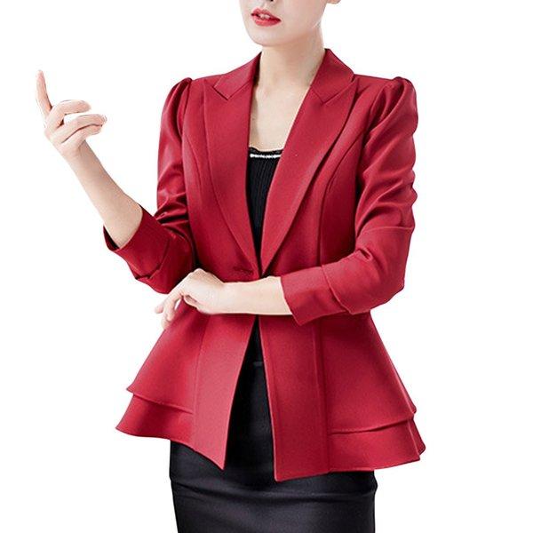 Office Lady Casual Suit Jacket Fashion Women Business Top Button Lapel Long Sleeve Suit Blouse Loose Coat chamarras de mujer 6