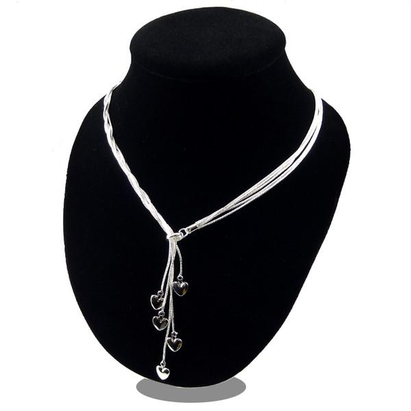 Sterling-silver-jewelry collier 925 prata 2019 colar para as mulheres declaração coração pingentes collares jóias colar de corrente de ligação bijoux FS34