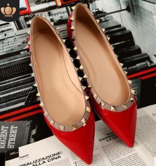 sale! 34 41 genuine leather v stud ballerina flats blue black nude red yellow rose pink luxury designer runway classic fashion women