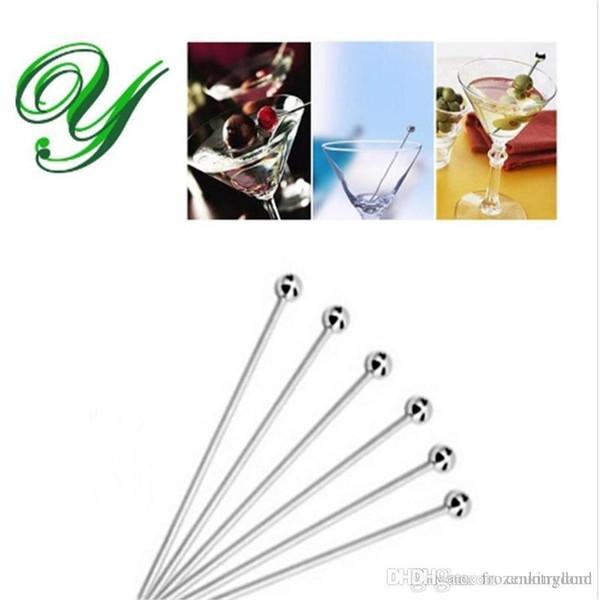 Edelstahl Martini nimmt Spieß Cocktail muddler Getränk Rührer Obstkuchendeckel Gabel Vorspeise Dekoration Partei liefert bbq brochette