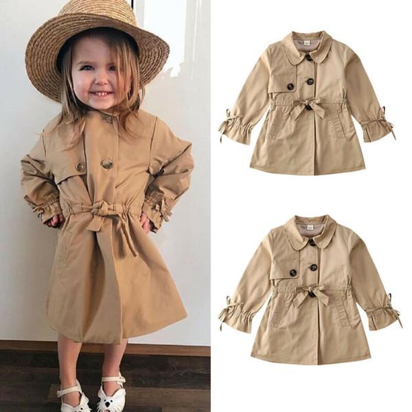 Çocuk Bebek Bebek Çocuk Kız Katı Renk Hendek Sonbahar İlkbahar Coats Uzun Kollu Bant Dış Giyim Kız Kostümleri
